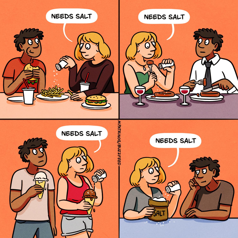 A woman putting salt on every dish she eats