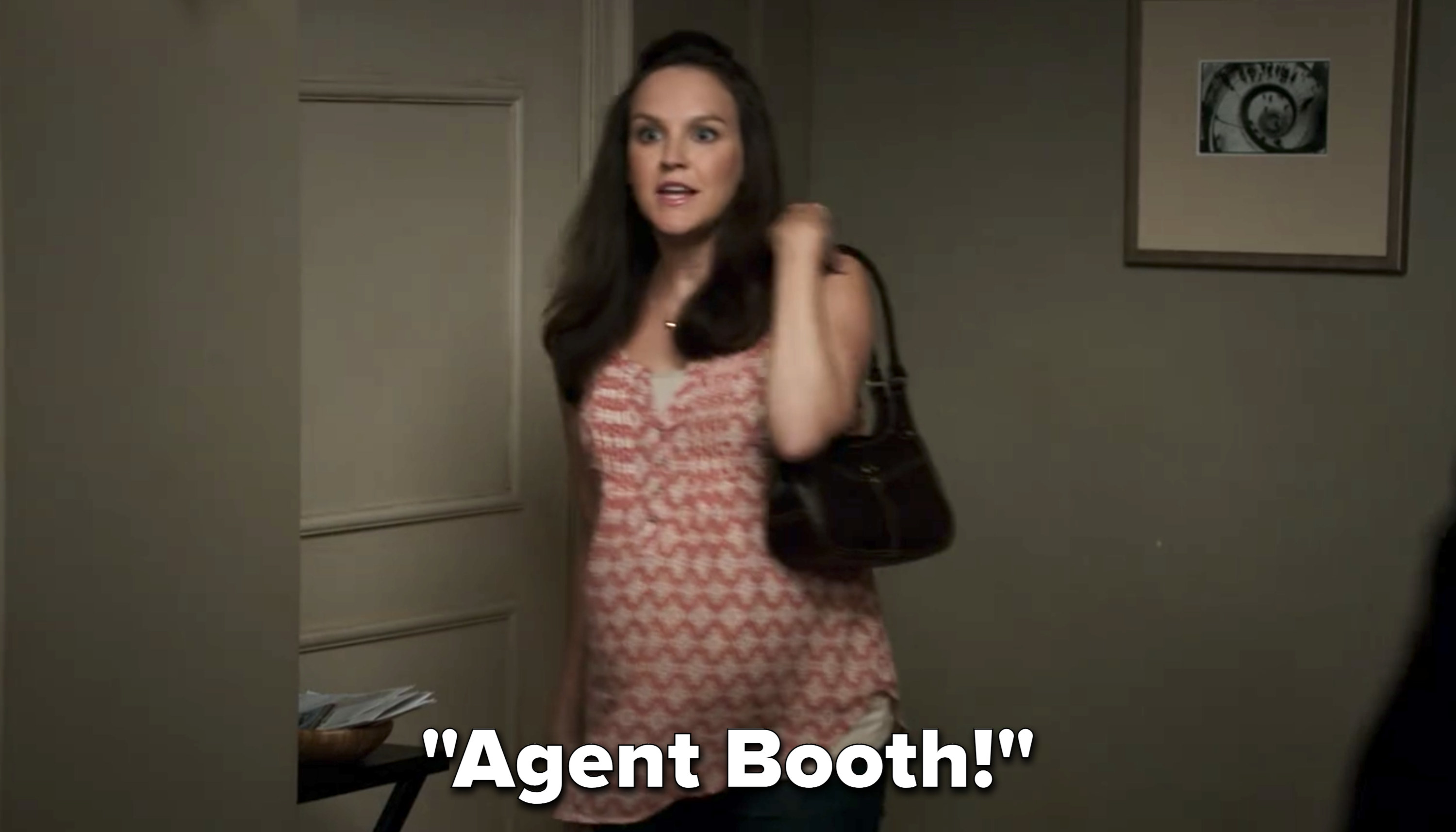 """Daisy walking in super pregnant saying """"Agent Booth!"""""""