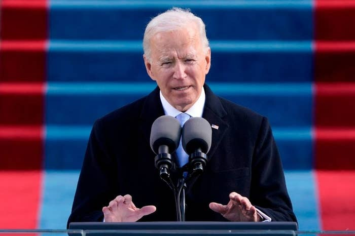 President Biden delivering his Inaugural address