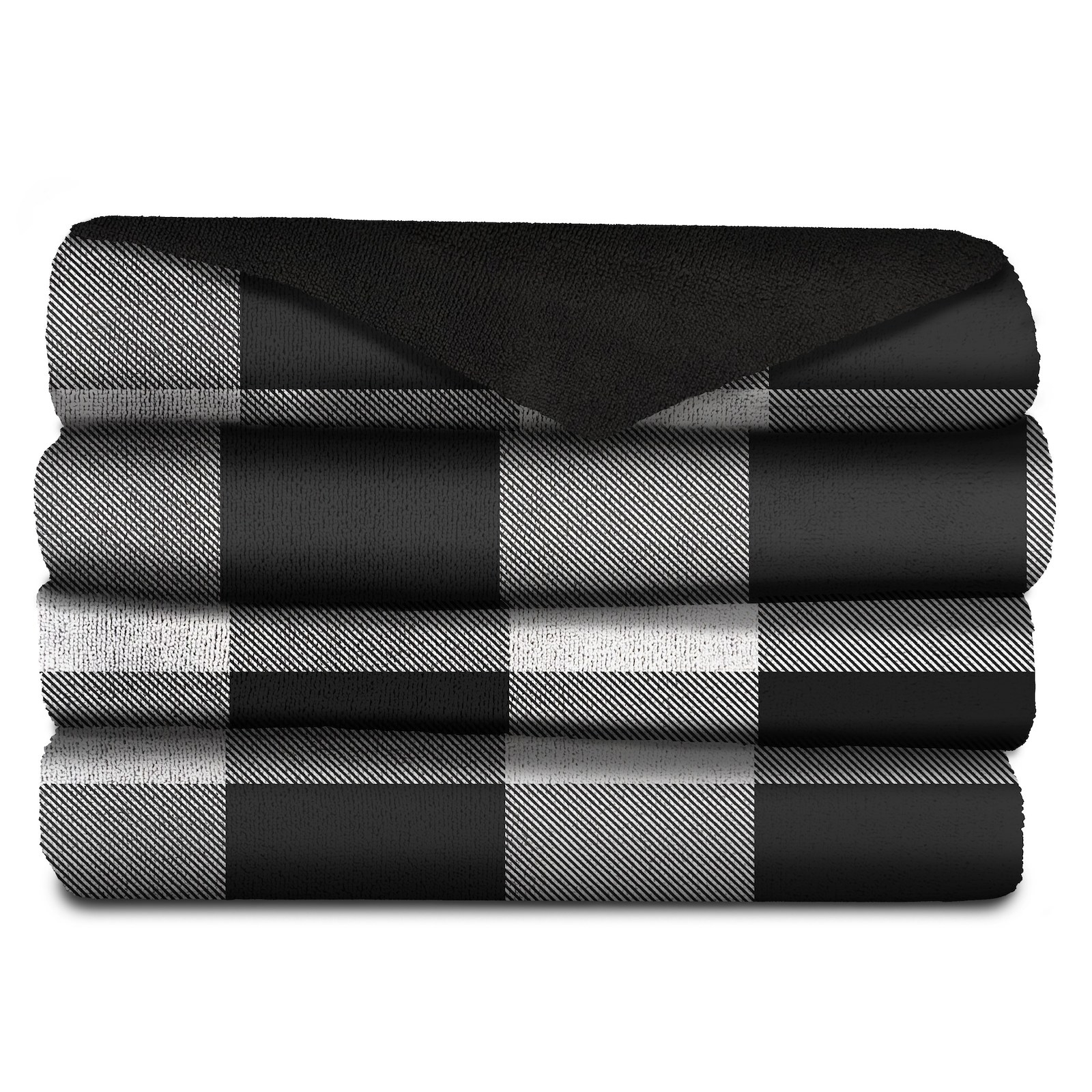 The black and white throw neatly folded