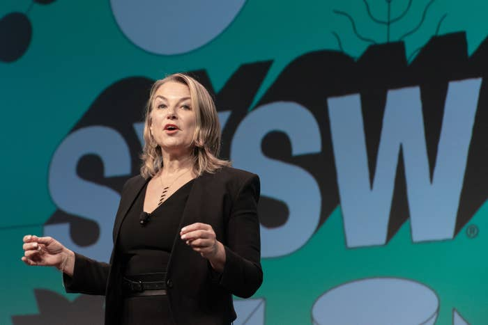 Another shot of Esther Perel speaks onstage at the 2019 SXSW Conference and Festivals
