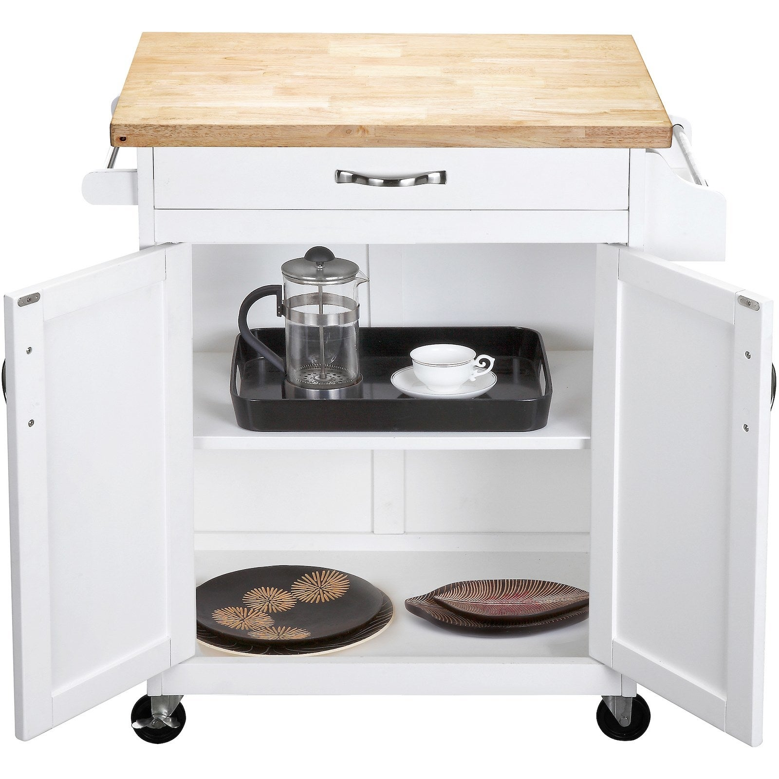 The kitchen island with two interior shelves