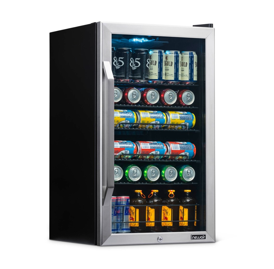 The beverage refrigerator in black and steel
