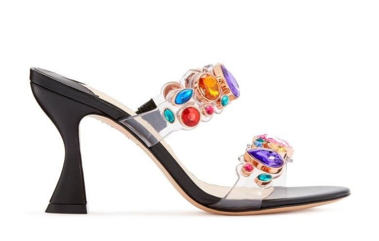 black heeled mules with clear and rainbow jewel straps