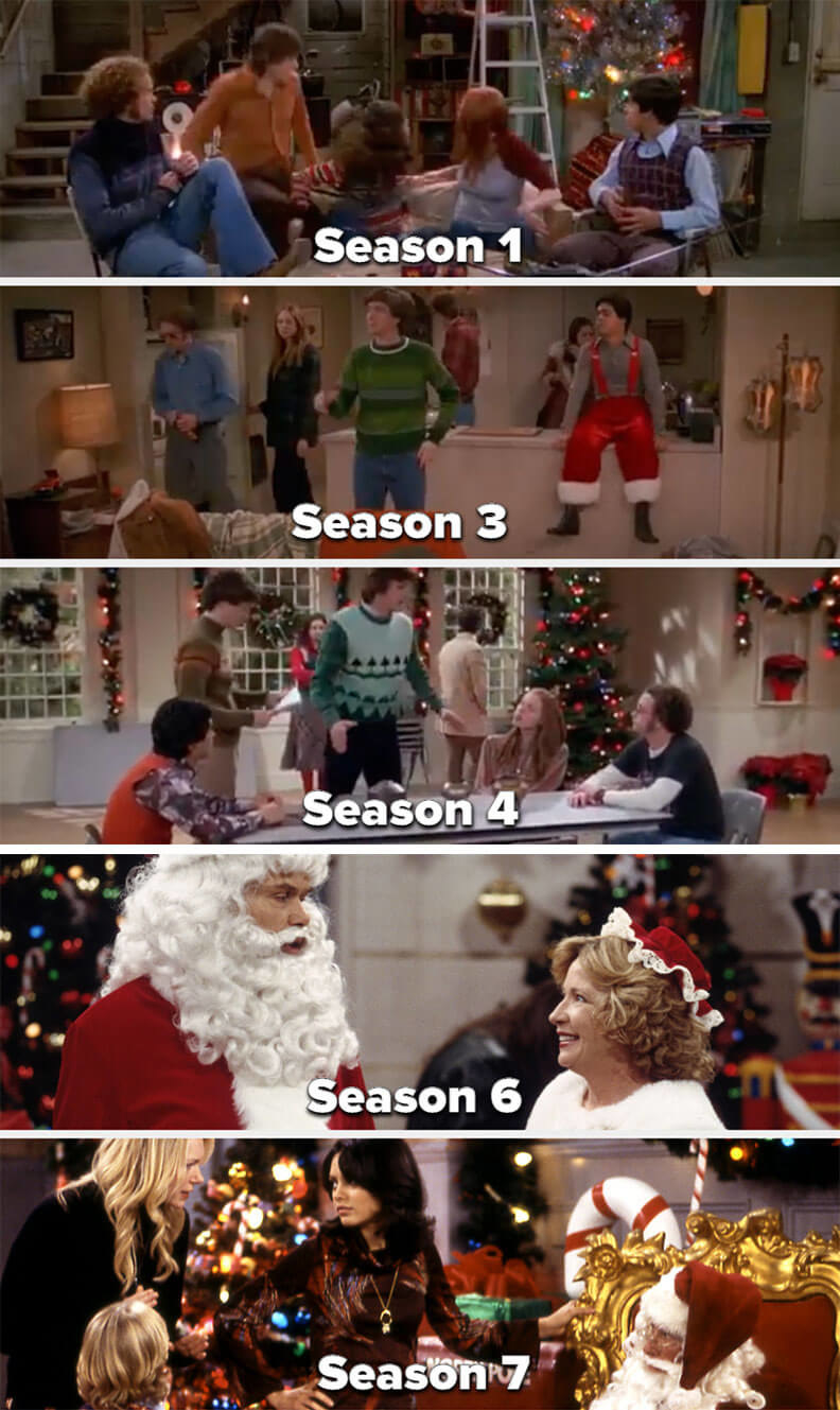 screenshots from the Christmas episodes in Seasons 1, 3, 4, 6, and 7