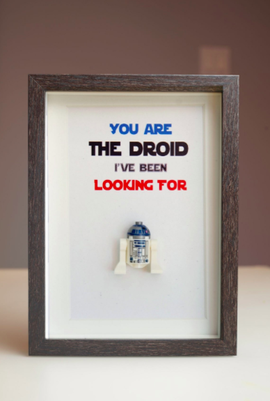 A framed figurine of R2D2 with a caption, you are the droid I've been looking for