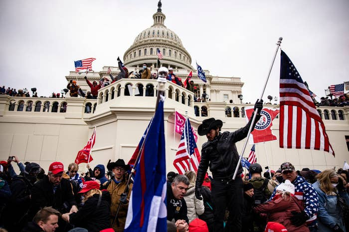 Trump-supporting insurrectionists breaching the Capitol