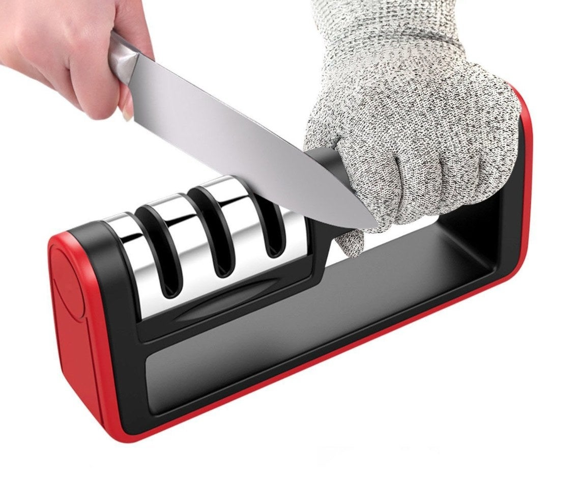 The knife sharpener in red