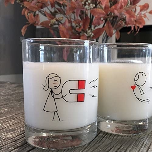 A pair of glasses where one has a graphic of a stick person holding a magnet and the other shows a stick person being pulled by the magnet