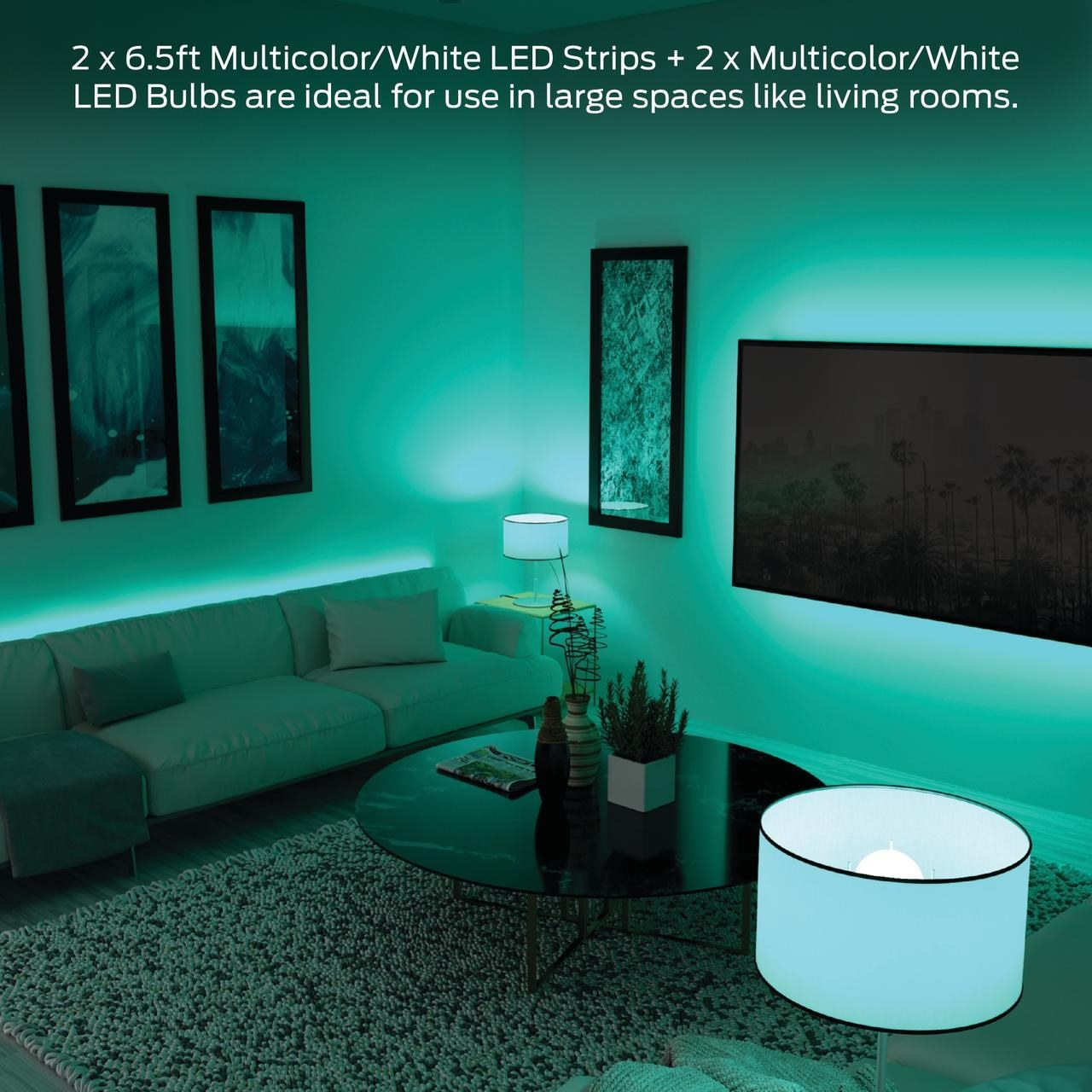 The lighting kit omitting green light throughout a living room