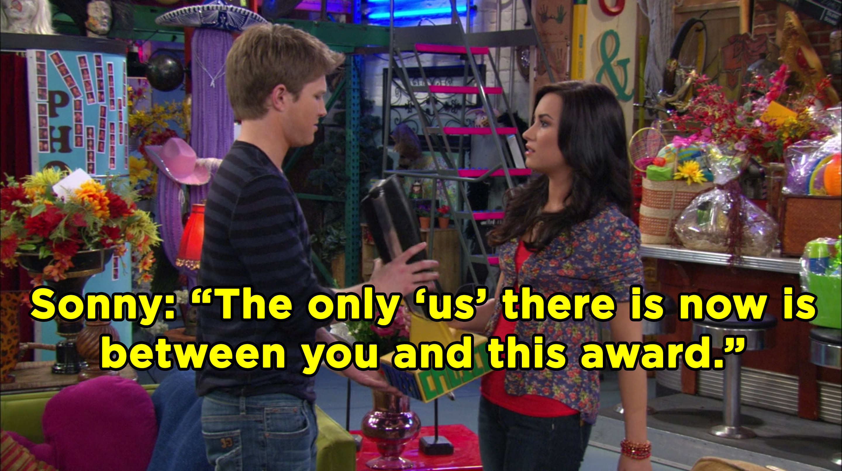 "Sonny stands in front of Chad, hands him a trophy and says, ""The only 'us' there is now is between you and this award"""