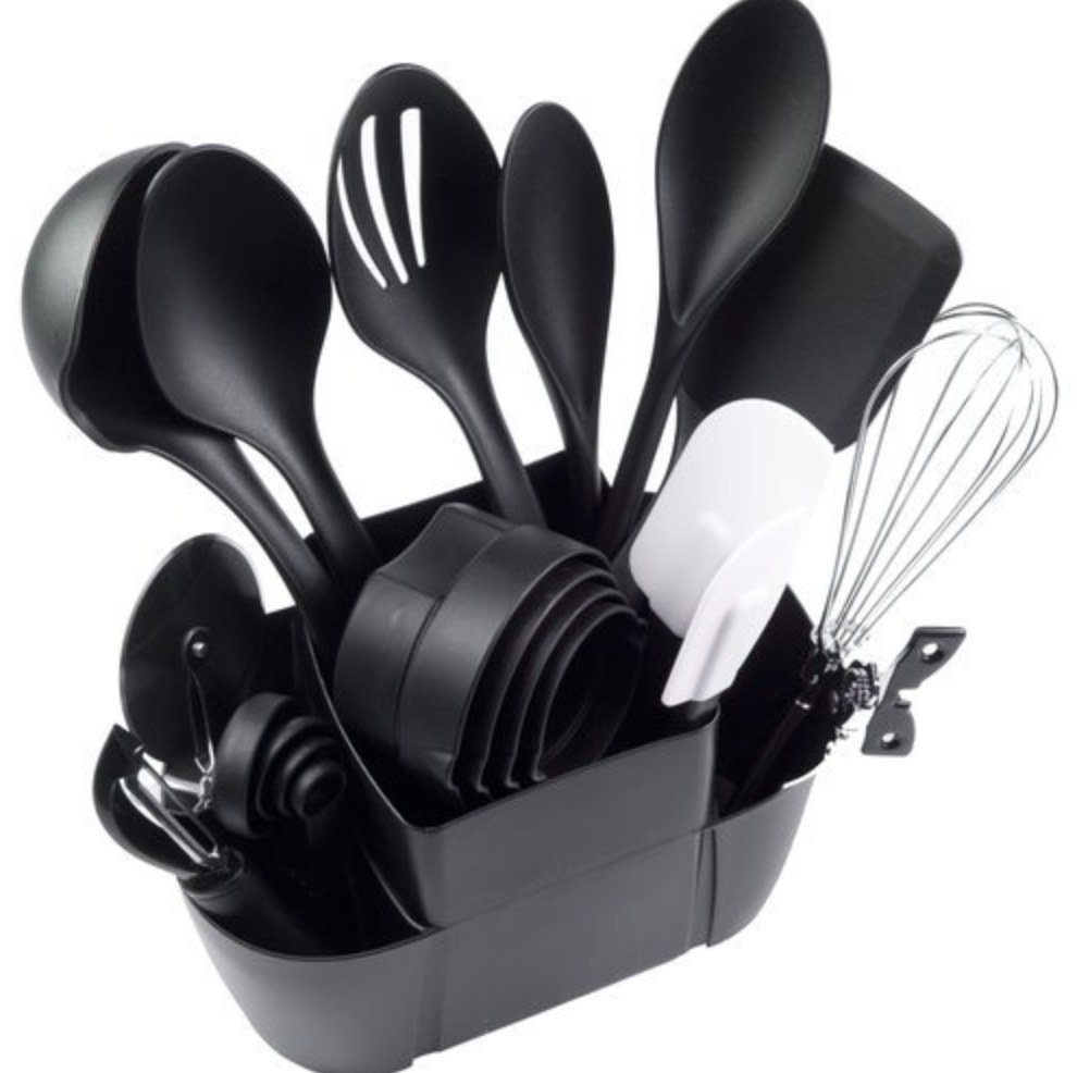 The 21 piece kitchen utensil set in black and white