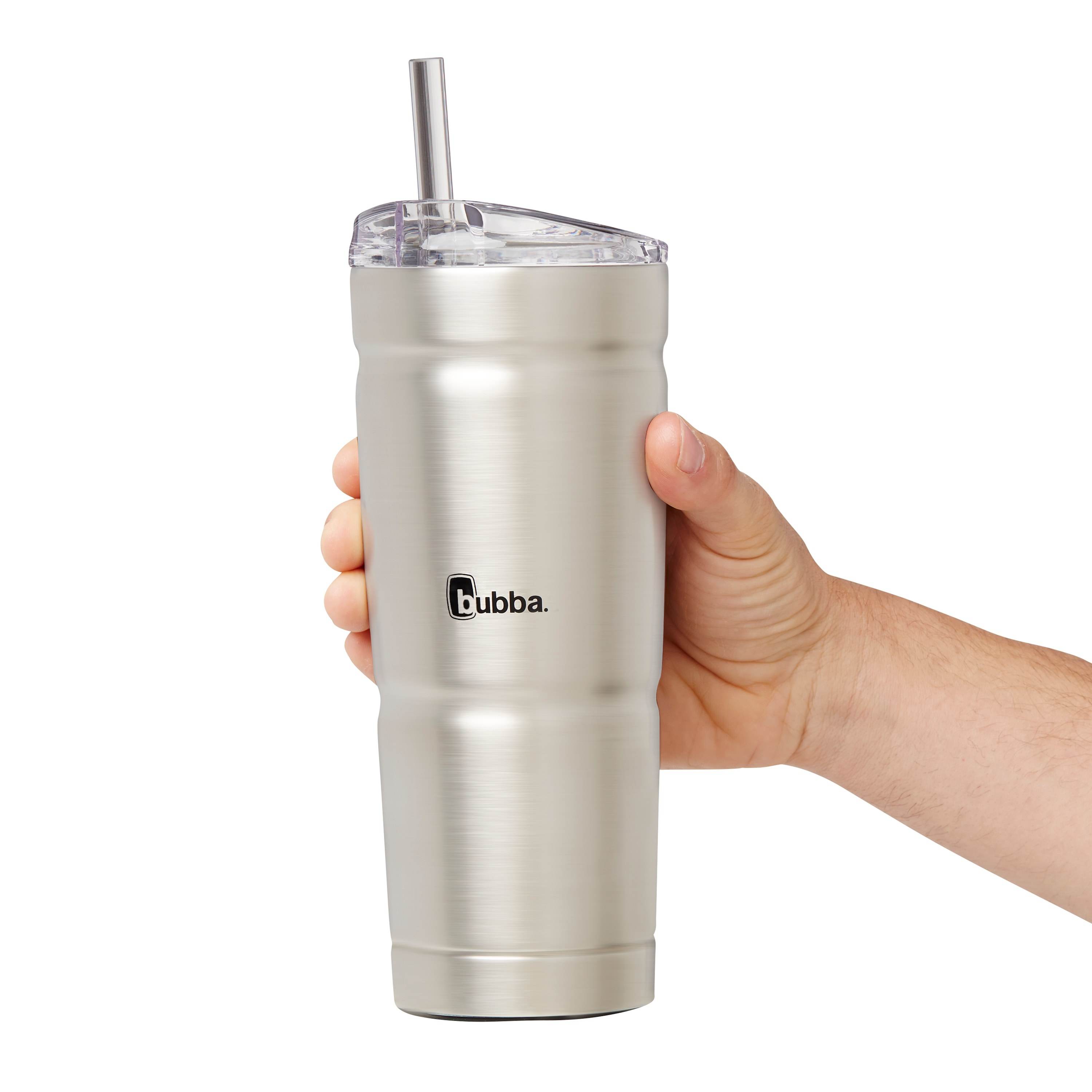 A model holding a silver tumbler with a built-in straw