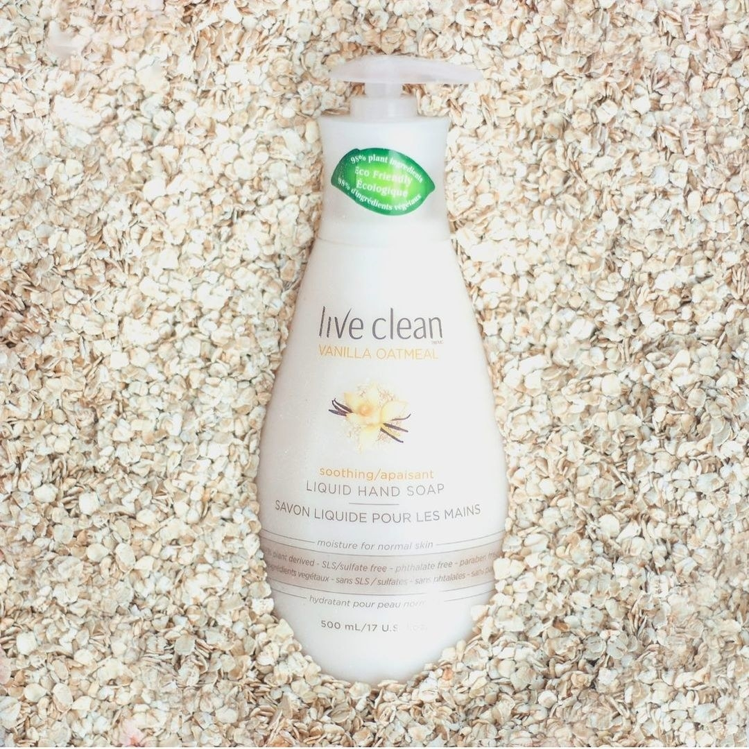 A bottle of hand soap in a pile of oats