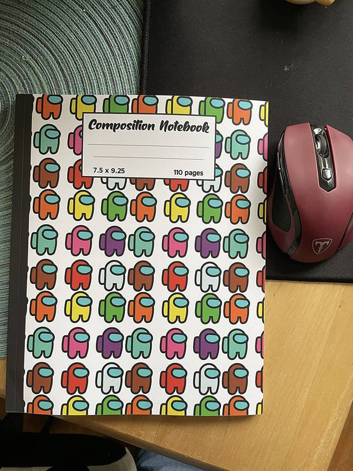 a reviewer's notebook with among us avatars all over it