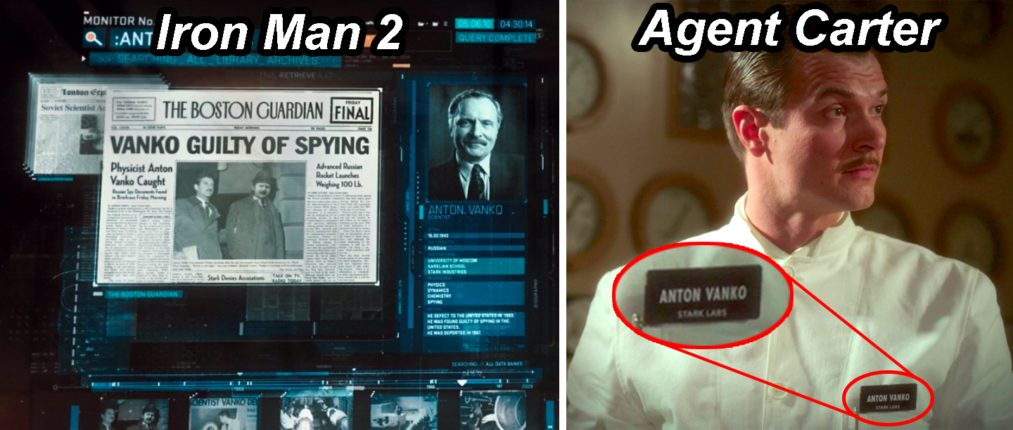 A screen in Iron Man 2 describing Ivan Vanko's history, including an espionage conviction, and Anton Vanko in Agent Carter wearing a name tag