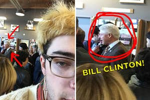 A person taking a sneaky picture of Bill Clinton