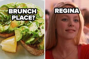 Brunch place label over avocado toast and regina