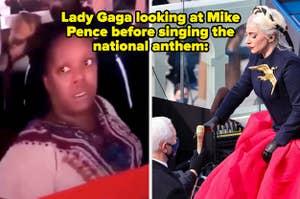 Meme of disgruntled black woman; Lady Gaga ignoring Mike Pence