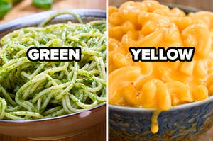 Green label over pesto pasta and yellow label over mac and cheese