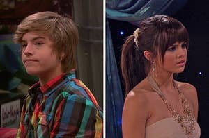 """On the left, Dylan Sprouse as Zack on """"The Suite Life on Deck,"""" and on the right, Selena Gomez as Alex on """"Wizards of Waverly Place"""""""