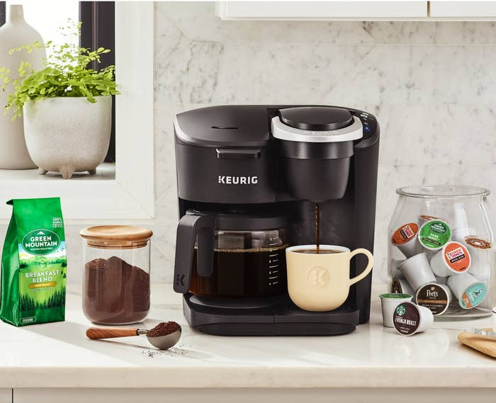 The dual coffee maker with room for a full pot of coffee on the left and a single mug on the right