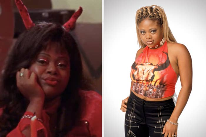 Countess Vaughn is leaning on her fist in a devil costume on the left with a bull shirt and braids on the right