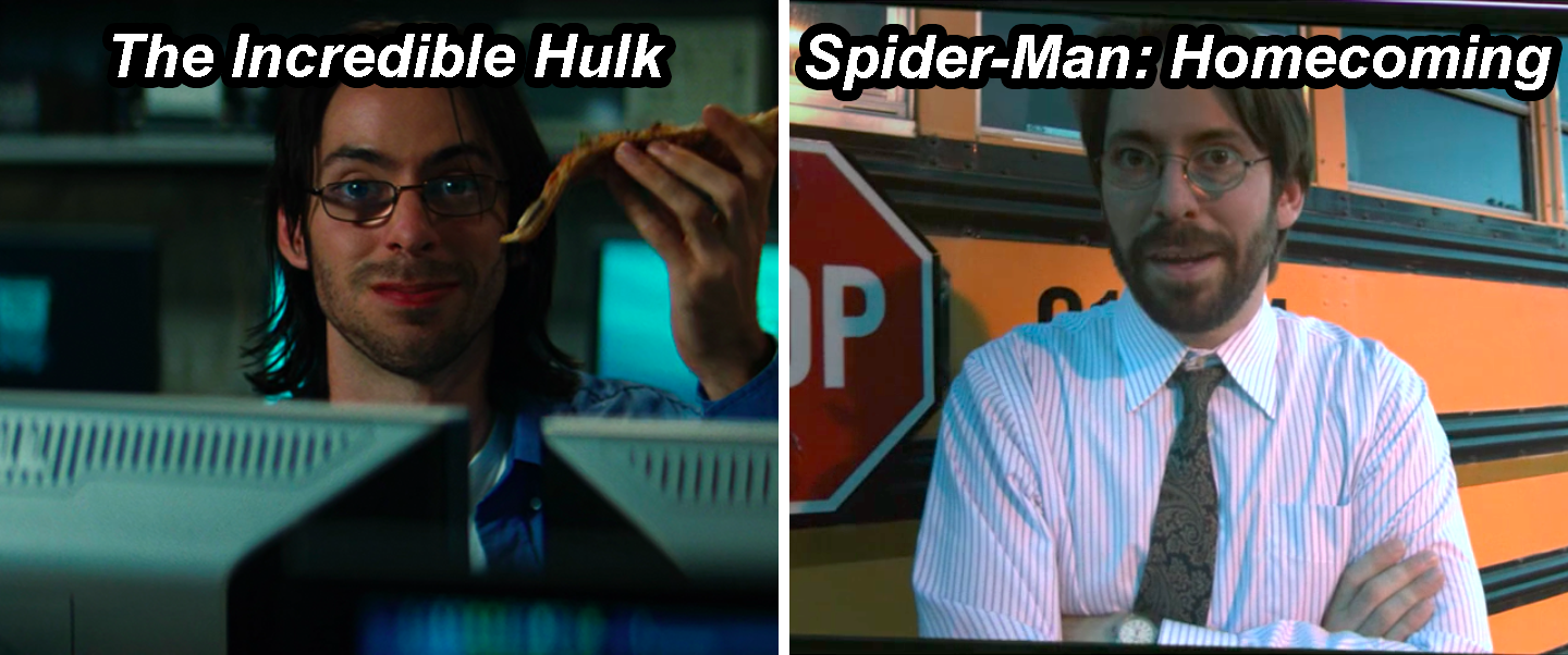 Mister Harrington sitting at a computer and holding pizza in The Incredible Hulk and then in front of a school bus in Spider-Man: Homecoming
