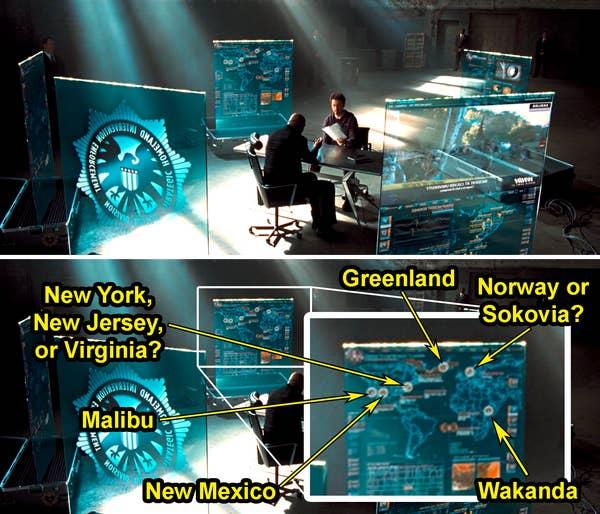 Peta kabur dengan lingkaran yang diberi label Greenland;  Norwegia atau Sokovia;  Wakanda;  New Mexico;  Malibu;  dan New York, New Jersey, atau Virginia