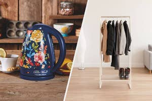 A split image of a electric kettle and a portable clothing rack