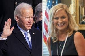 Joe Biden swearing in at his inauguration; Leslie Knope looking excited