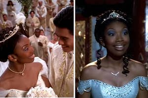 left image: cinderella and prince getting married, right image: cinderella ready for ball