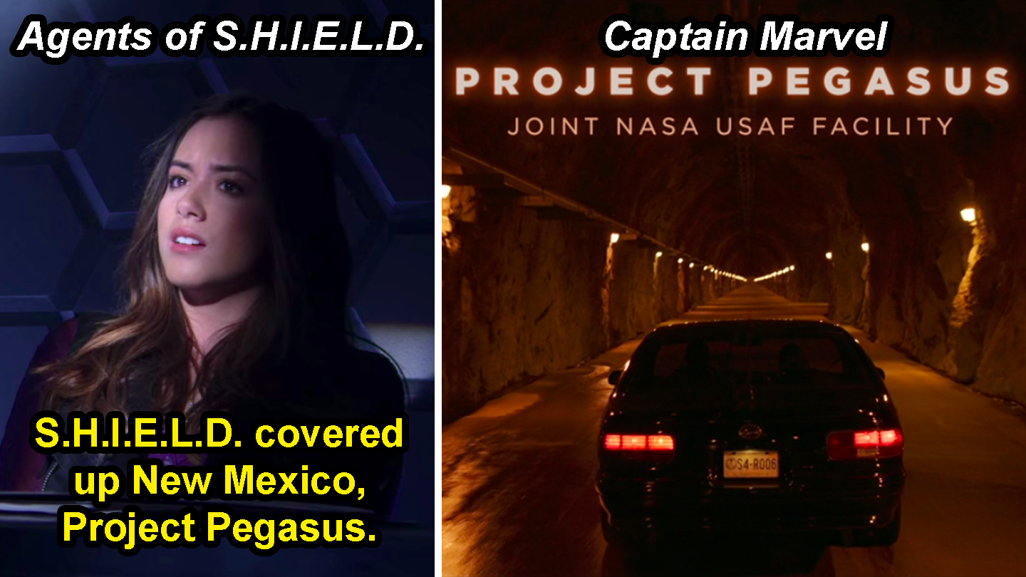 "Skye saying, ""Shield covered up New Mexico, Project Pegasus,"" on Agents of Shield and a scene in Captain Marvel that says, ""Project Pegasus, joint NASA USAF facility"""
