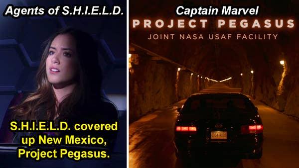 Skye berkata, & quot; Perisai menutupi New Mexico, Proyek Pegasus, & quot;  tentang Agen Perisai dan adegan di Captain Marvel yang mengatakan, & quot; Proyek Pegasus, fasilitas gabungan NASA USAF & quot;
