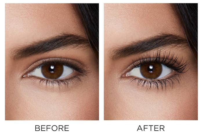 Model before and after shot with fanned out eyelashes to show the effects of the mascara