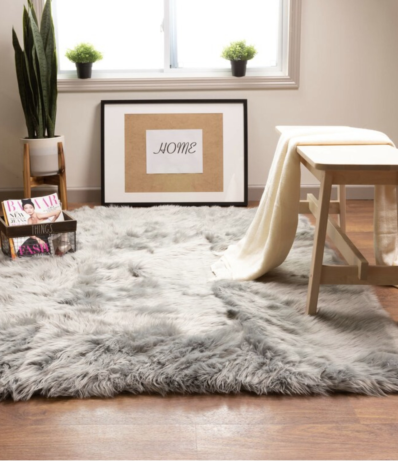 the rug in gray in a living room