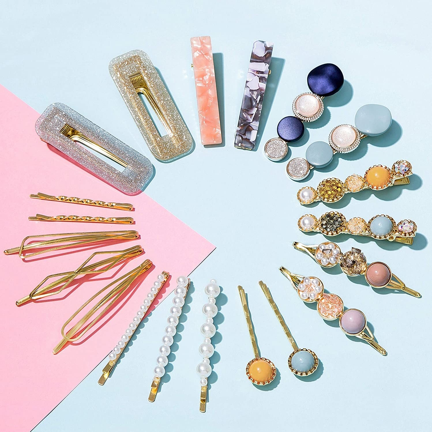A flatlay of the full set of clips on a colourful background