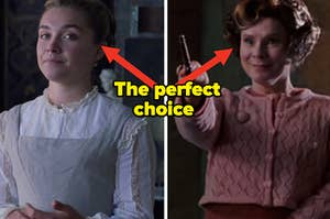 """Florence Pugh as Amy March in the movie """"Little Women"""" and Imelda Staunton as Dolores Umbridge in the """"Harry Potter"""" series."""