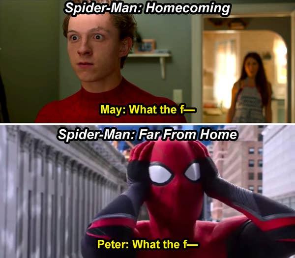 Bibi May berkata, & quot; Apa-apaan ini— & quot;  di Homecoming, dan Spider-Man berkata, & quot; What the f— & quot;  di Far From Home