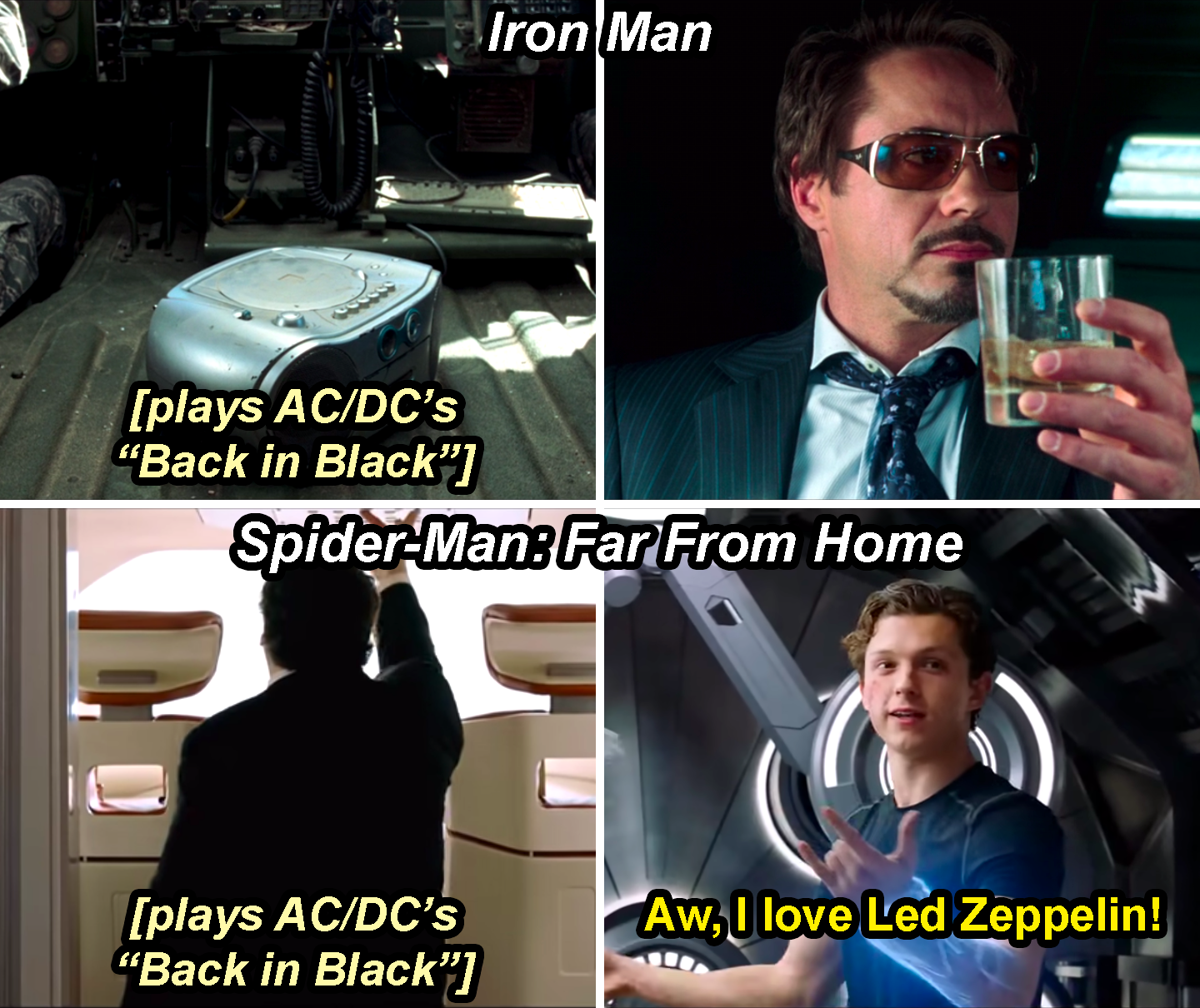 "A boombox playing AC/DC's Back in Black in Iron Man and Happy turning on Back in Black in Spider-Man: Far From Home with Peter responding, ""Aw, I love Led Zeppelin"""