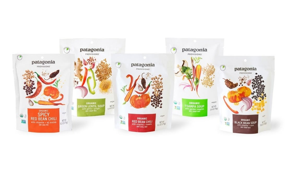 Five packets of different-flavored organic soup mixes