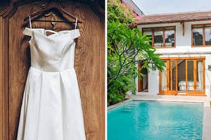 A simple, silky wedding dress on a hanger on the left, and a vacation home with big windows and a pool on the right