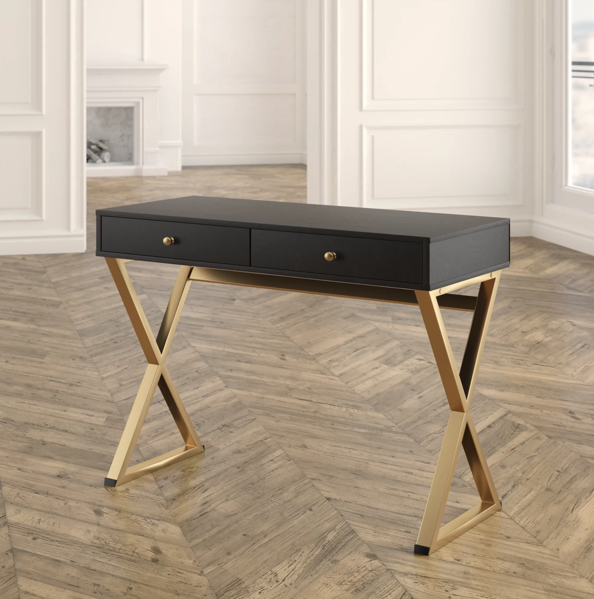 the desk with a black top and gold bottom