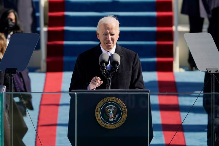 Joe Biden delivers a speech after being sworn in as the 46th president of the United States