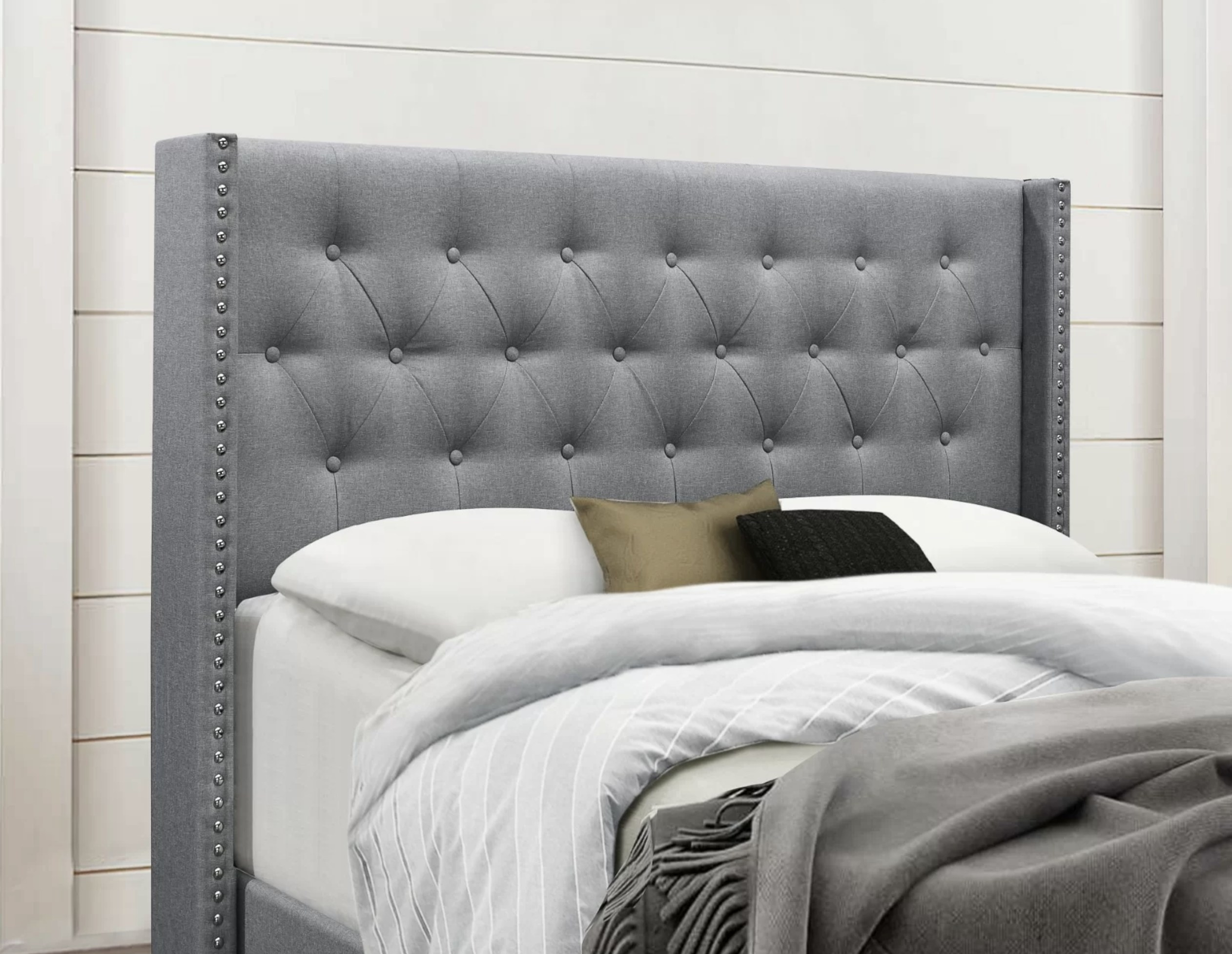 the bed frame in gray
