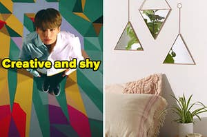 """A BTS member is on the left labeled, """"creative and shy"""" with triangle mirrors hanging on a wall on the right"""