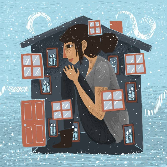 An illustration of a 30-something woman sitting in her home as it snows outside