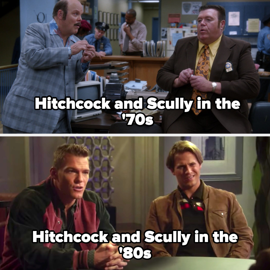 Hitchcock and Scully looking similar to the present-day in the '70s and then as hot young cops in the '80s