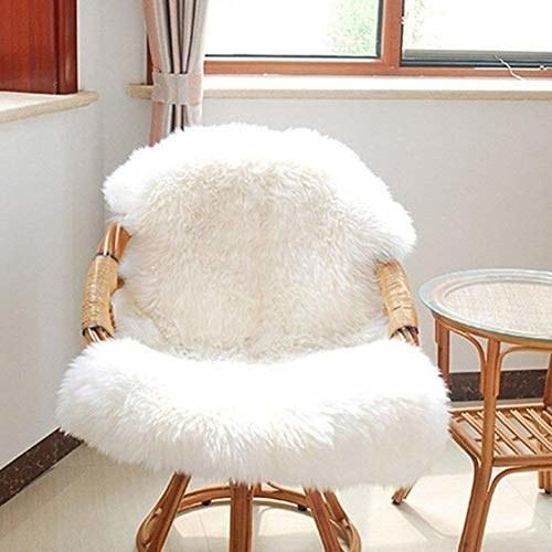 Shaggy rug kept on a chair.
