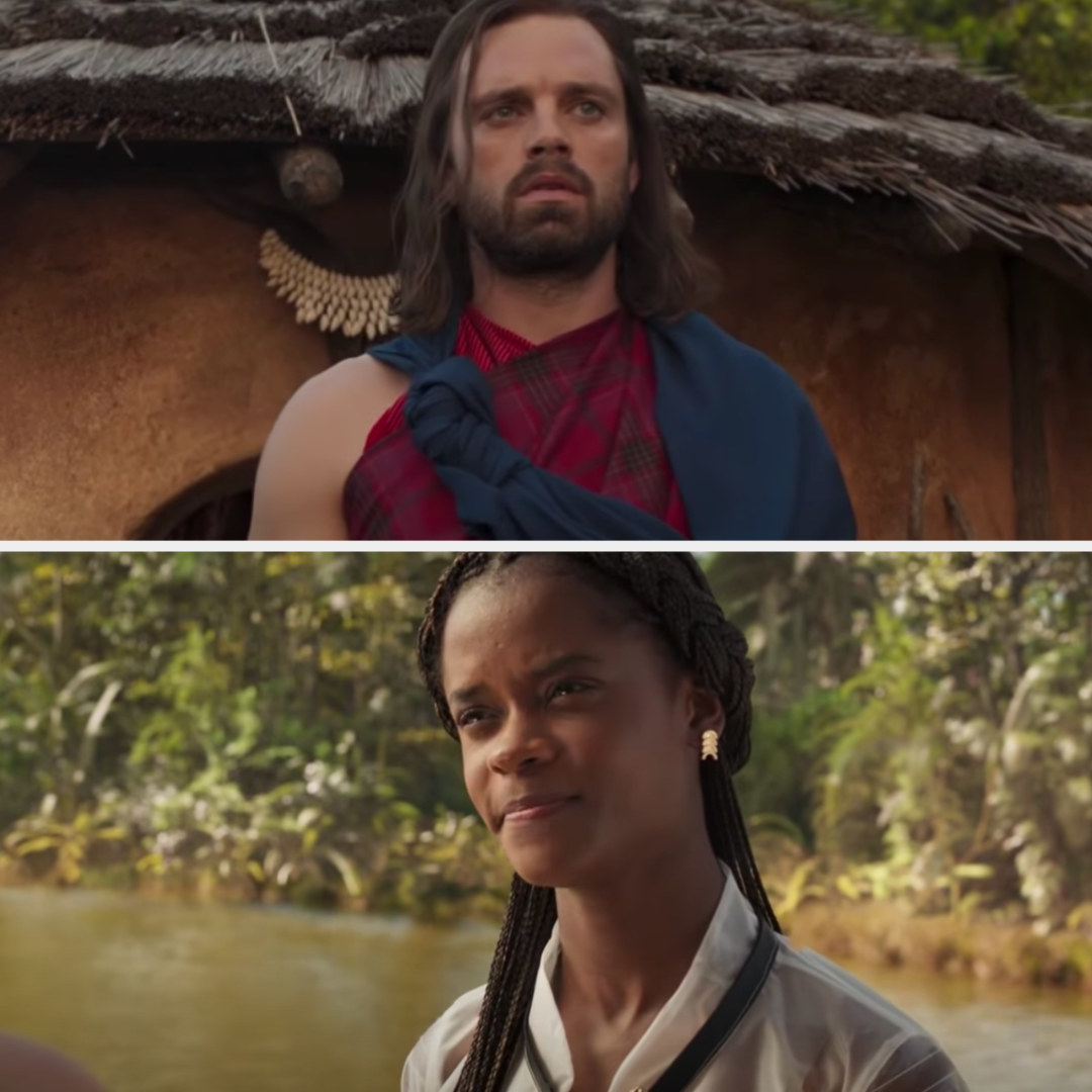 Bucky walks out of a tent and sees Shuri